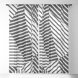 Abstract Striped Triangles Sheer Curtain