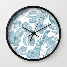 Gorgeous Blue Tropical Leaves + Flowers Wall Clock