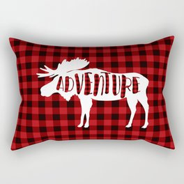 Red Buffalo Plaid Moose ADVENTURE typography Rectangular Pillow