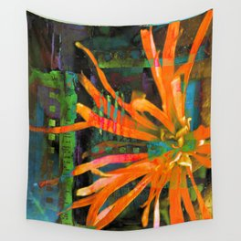 Electric Floral Burst in Tangerine Wall Tapestry