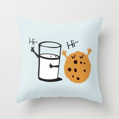 Hi Hi milk and cookie Throw Pillow