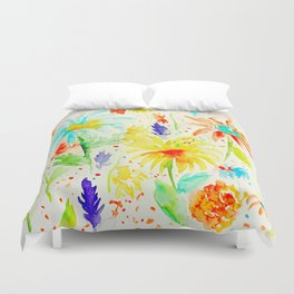 Watercolor Abstract Floral Pattern Red Orange Blue Daisies Duvet Cover