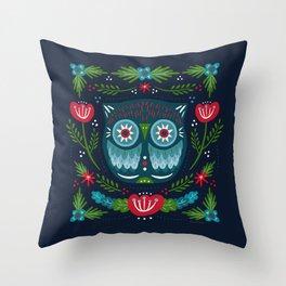 Festive Owl | Holiday Throw Pillow