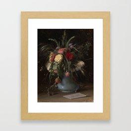 KRAMSKOY, IVAN (1837-1887) VASE OF FLOWERS AND A VISITING CARD Framed Art Print