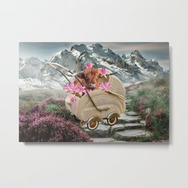 Highland Cattle Cow in Baby Carriage with Lotus Flower Metal Print