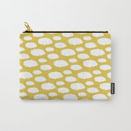 White Clouds on Mustard Yellow Carry-All Pouch