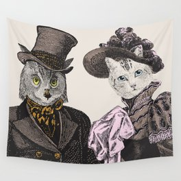The Owl and the Pussycat | Anthropomorphic Owl and Cat | Wall Tapestry
