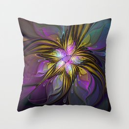 Abstract Art, Coloful Fantasy Flower Fractal Throw Pillow
