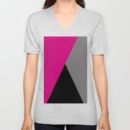 Geometric design in hot pink grey & black Unisex V-Neck