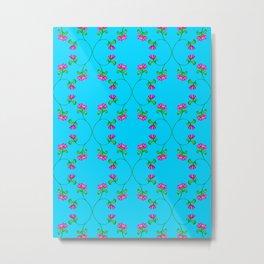 Floral Latticework on blue Metal Print