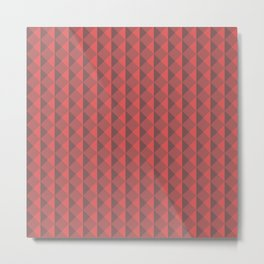 Red abstract geometric pattern. Pyramid. Rhombuses and triangles. Metal Print