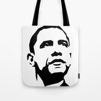 obama Tote Bags featuring barak obama by b & c