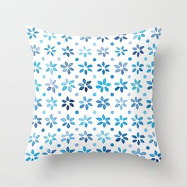 Tiny Blue Watercolor Flowers, sorted Throw Pillow