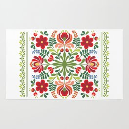 Hungarian Folk Design Red and Pink Rug