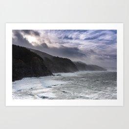 Cape Arago's Rigid Coastline at Sunrise Art Print