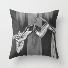 Hanging by a Thread Black and White Throw Pillow
