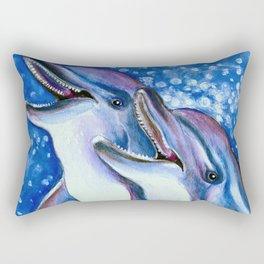 Happy Tooth Dolphins Rectangular Pillow