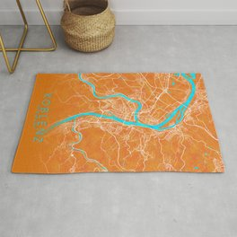 Koblenz, Germany, Gold, Blue, City, Map Rug