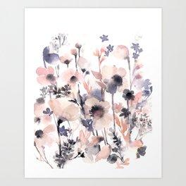 Flowers pink and purple Art Print