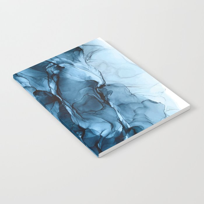 Deep Blue Flowing Water Abstract Painting Notebook