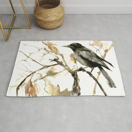 Crow in the Fall, Tribal Crow Raven art Rug
