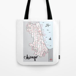 Illustrated Map of Chicago Neighborhoods Tote Bag