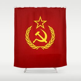 Hammer and Sickle Textured Flag Shower Curtain