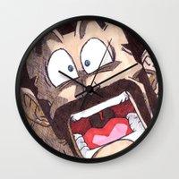 satan Wall Clocks featuring Mr. Satan by DeMoose_Art