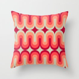 70s Geometric Design - Pink and Red Swoops Throw Pillow