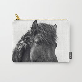 Fuzzy Horse Photograph in Black and White Carry-All Pouch