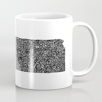 kansas Mugs featuring Typographic Kansas by CAPow!
