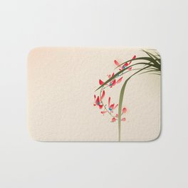 oriental style painting, red orchid flowers Bath Mat