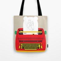 typewriter Tote Bags featuring Typewriter by EinarOux