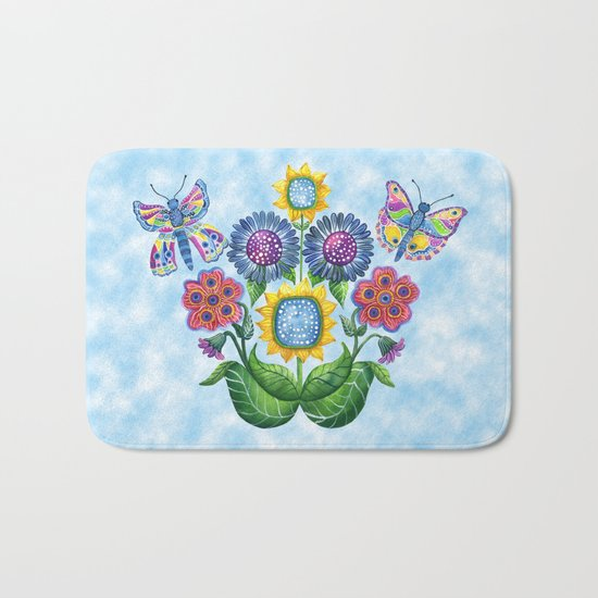 Butterfly Playground on a Summer Day Bath Mat
