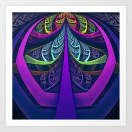 An UltraViolet Black Light Rainbow of Glass Shards Art Print