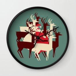 Deer Santa Wall Clock