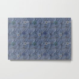 Blue Jeans Denim Pocket Patchwork Metal Print