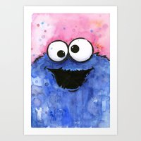 cookie monster Art Prints featuring Cookie Monster by Olechka