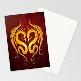 Yellow and Red Twin Tribal Dragons Stationery Cards