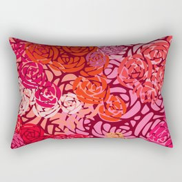 Colorful Overlapping Roses on Roses Print Design 4 Rectangular Pillow
