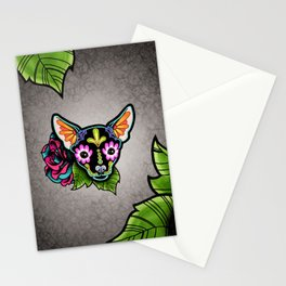 Chihuahua in Black - Day of the Dead Sugar Skull Dog Stationery Cards