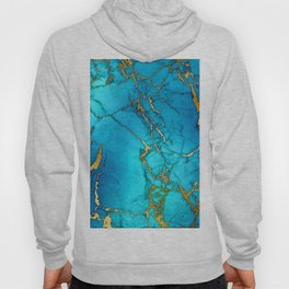 Gold And Teal Blue Indigo Malachite Marble Hoody