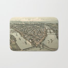 Vintage Pictorial Map of Pittsburgh (1902) Bath Mat