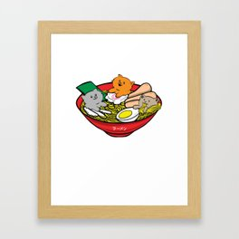 Kawaii Ramen Cats Manga Otaku Cosplay Gift Framed Art Print