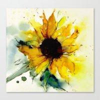 sunflower Canvas Prints featuring sunflower by annemiek groenhout