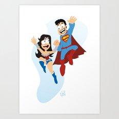 couple dressed as heroes. Art Print