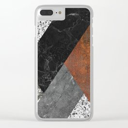 Marble, Granite, Rusted Iron Abstract Clear iPhone Case