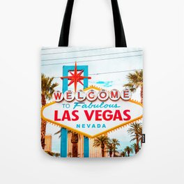 Classic view of Welcome to Fabulous Las Vegas sign on a beautiful sunny day with blue sky and clouds, Las Vegas, Nevada, USA Tote Bag
