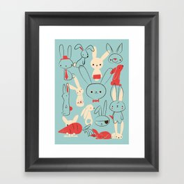 Bunnies (blue) Framed Art Print