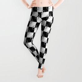 Black and White Checker Dog Paws Leggings